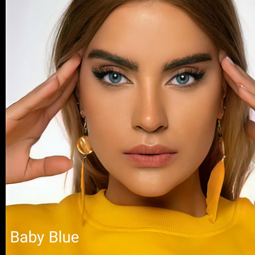 فروش لنز Baby Blue (آبی اقیانوسی بدون دور)  برند شیخ بهمراه قیمت امروز لنز رنگی  و قیمت امروز لنز طبی