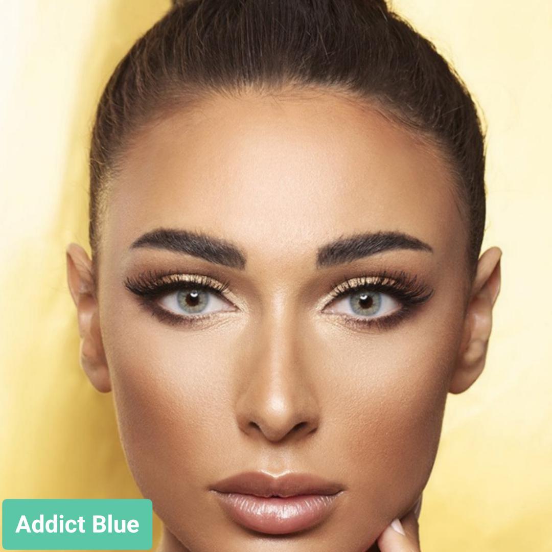 فروش لنز Addict Blue (آبی طوسی بدون دور) برند آنستازیا بهمراه قیمت امروز لنز رنگی  و قیمت امروز لنز طبی