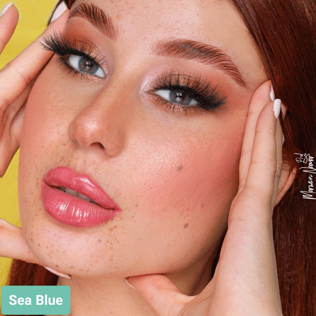 فروش لنز Sea Blue (آبی اقیانوسی دوردار)  برند هیپنوس بهمراه قیمت امروز لنز رنگی  و قیمت امروز لنز طبی