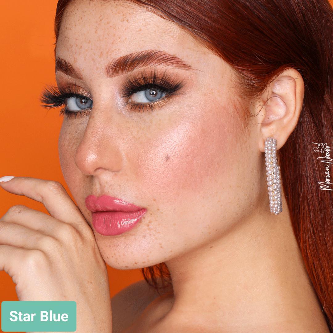 فروش لنز Star Blue (آبی تیله ای)  برند هیپنوس بهمراه قیمت امروز لنز رنگی  و قیمت امروز لنز طبی