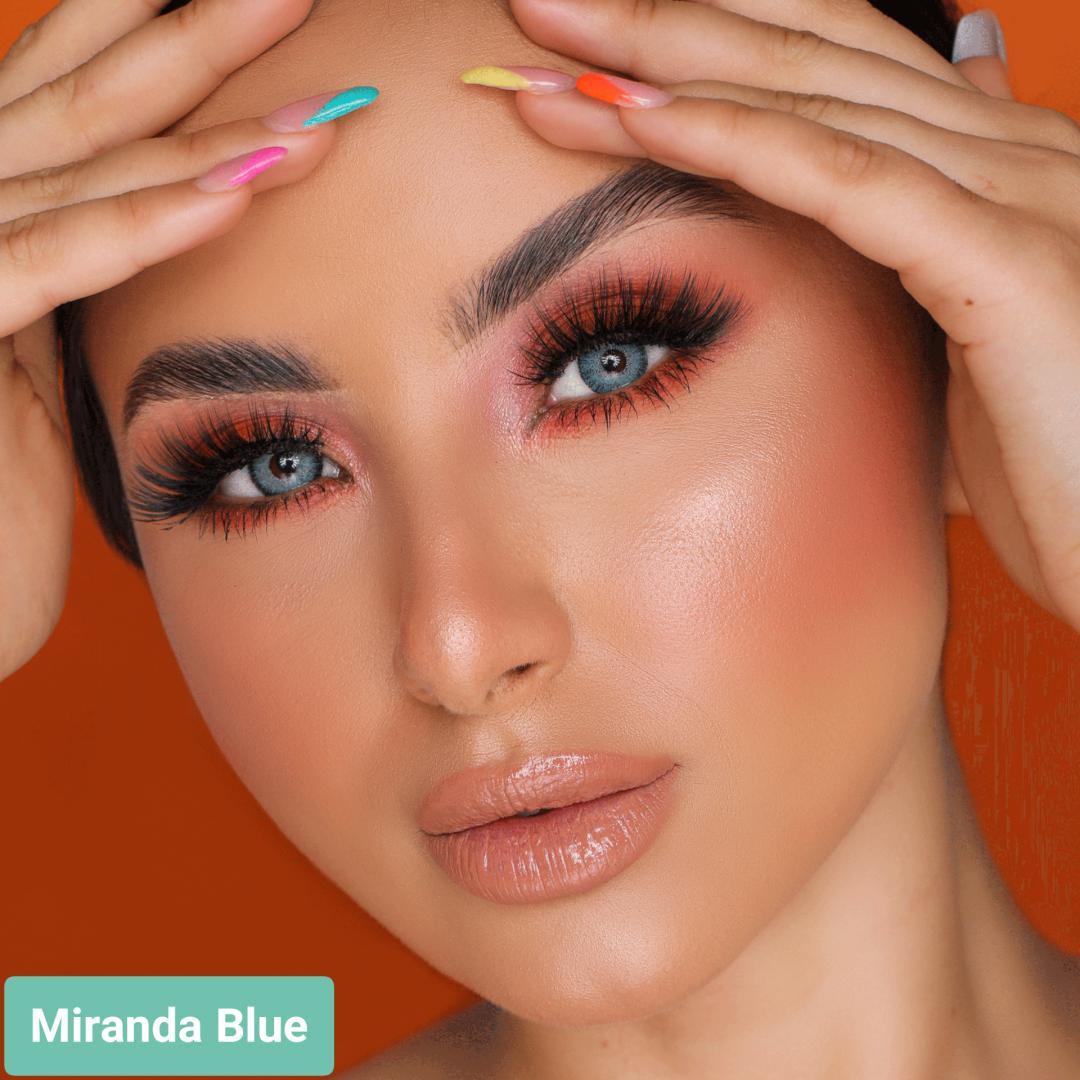 فروش لنز Miranda Blue (آبی اقیانوسی دوردار)  برند هیپنوس بهمراه قیمت امروز لنز رنگی  و قیمت امروز لنز طبی