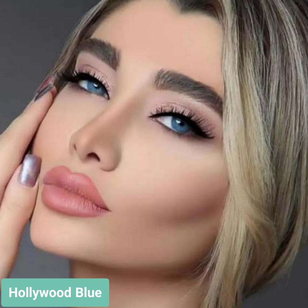 فروش لنز Hollywood Blue (آبی خالص)  برند هیپنوس بهمراه قیمت امروز لنز رنگی  و قیمت امروز لنز طبی