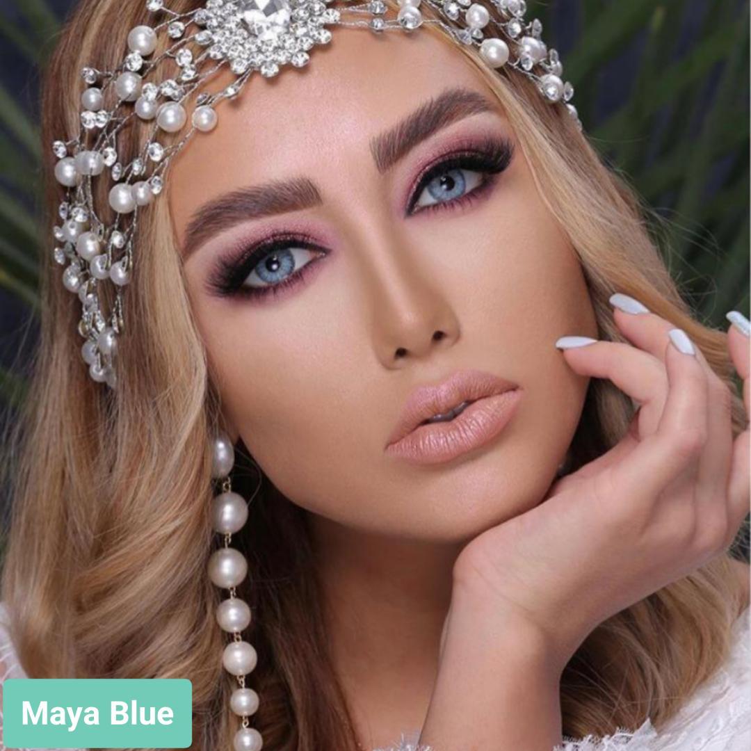 فروش لنز Maya Blue (آبی طوسی دوردار)  برند لولیتا بهمراه قیمت امروز لنز رنگی  و قیمت امروز لنز طبی
