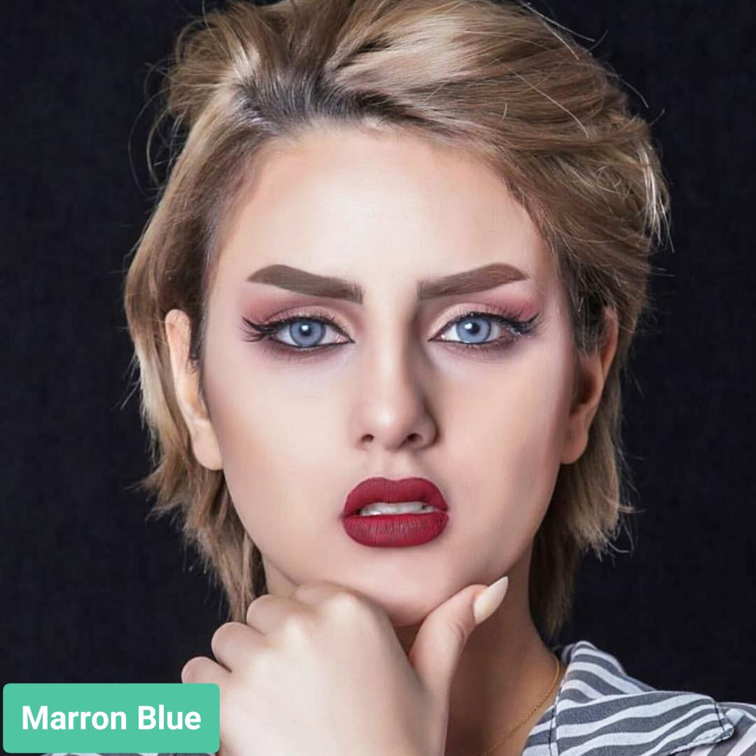 فروش لنز Marron Blue (آبی دورمحو)  برند ویکتوریا بهمراه قیمت امروز لنز رنگی  و قیمت امروز لنز طبی