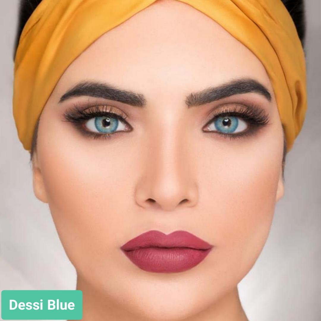 فروش لنز Dessi Blue (آبی دورمحو)  برند ویکتوریا بهمراه قیمت امروز لنز رنگی  و قیمت امروز لنز طبی