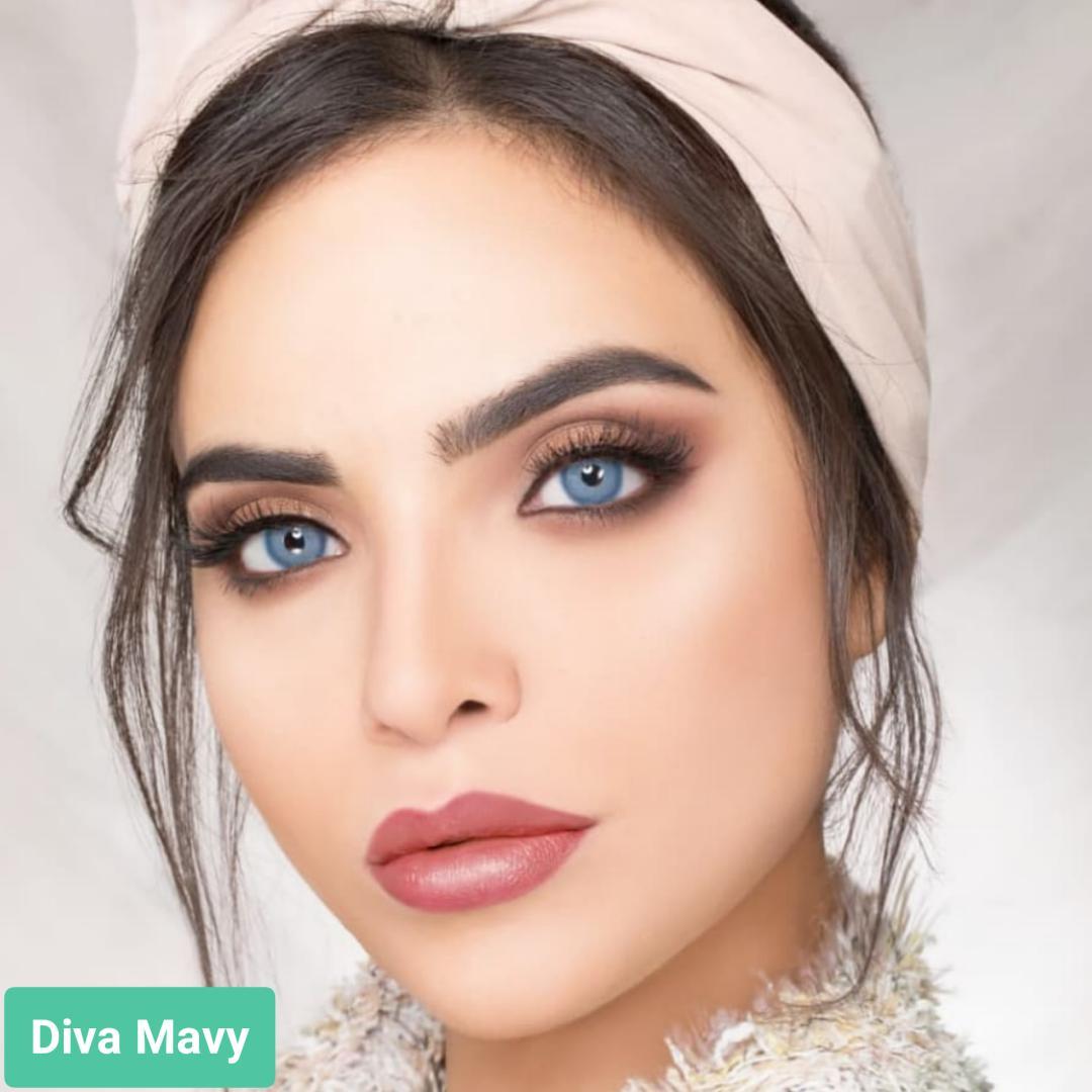 فروش لنزDiva Mavy (آبی دورمحو)  برند ویکتوریا بهمراه قیمت امروز لنز رنگی  و قیمت امروز لنز طبی