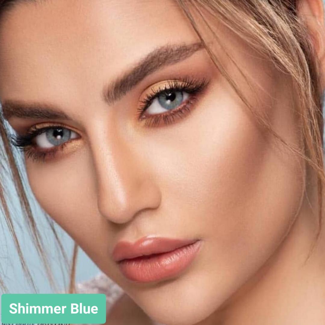 فروش لنز Shimmer Blue (آبی دوردار)  برند استلاکالرز بهمراه قیمت امروز لنز رنگی  و قیمت امروز لنز طبی