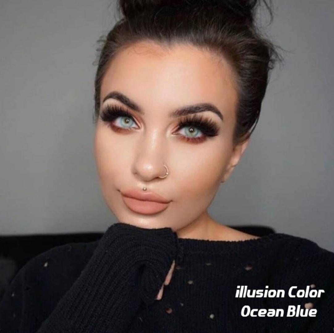 فروش لنز Ocean Blue (آبی اقیانوسی بدون دور)   برند ایلوژن بهمراه قیمت امروز لنز رنگی  و قیمت امروز لنز طبی