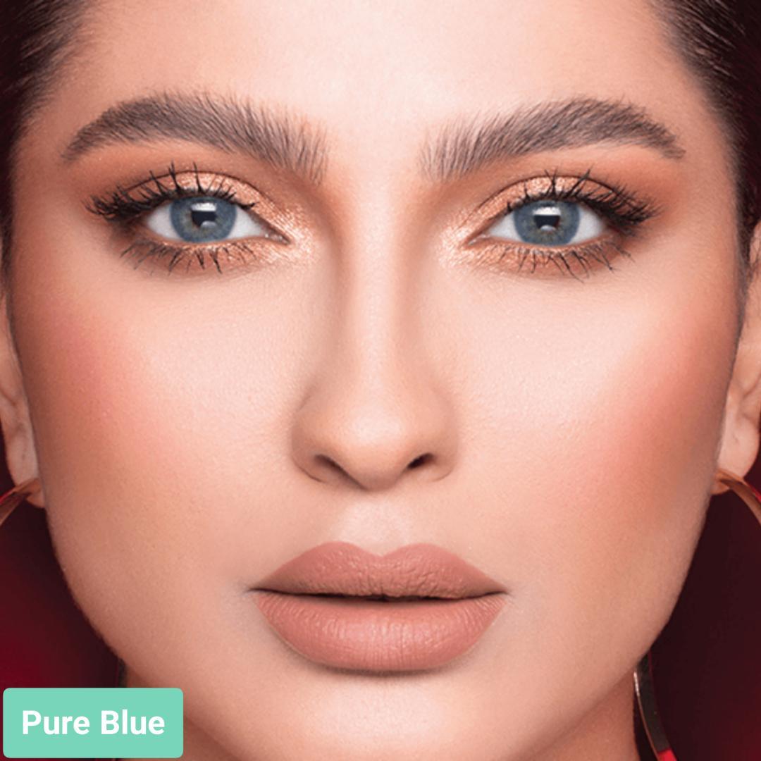 فروش لنزPure Blue (آبی اقیانوسی بدون دور)  برند لازرد بهمراه قیمت امروز لنز رنگی  و قیمت امروز لنز طبی