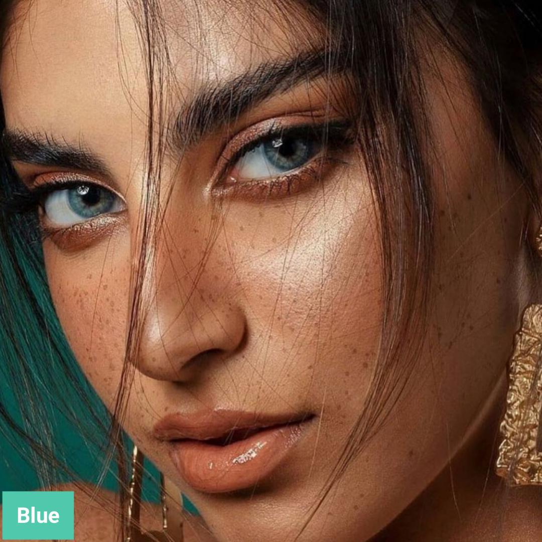 فروش لنز Blue (آبی اقیانوسی بدون دور)  برند مینی آوا بهمراه قیمت امروز لنز رنگی  و قیمت امروز لنز طبی