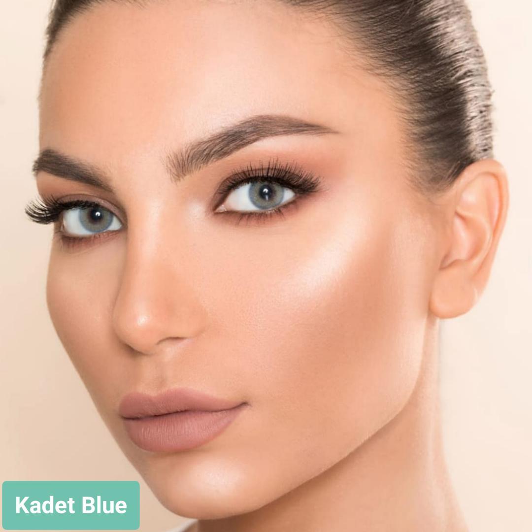 فروش لنز  Kadet Blue (آبی عسلی بدون دور)  برند لورنس  بهمراه قیمت امروز لنز رنگی  و قیمت امروز لنز طبی