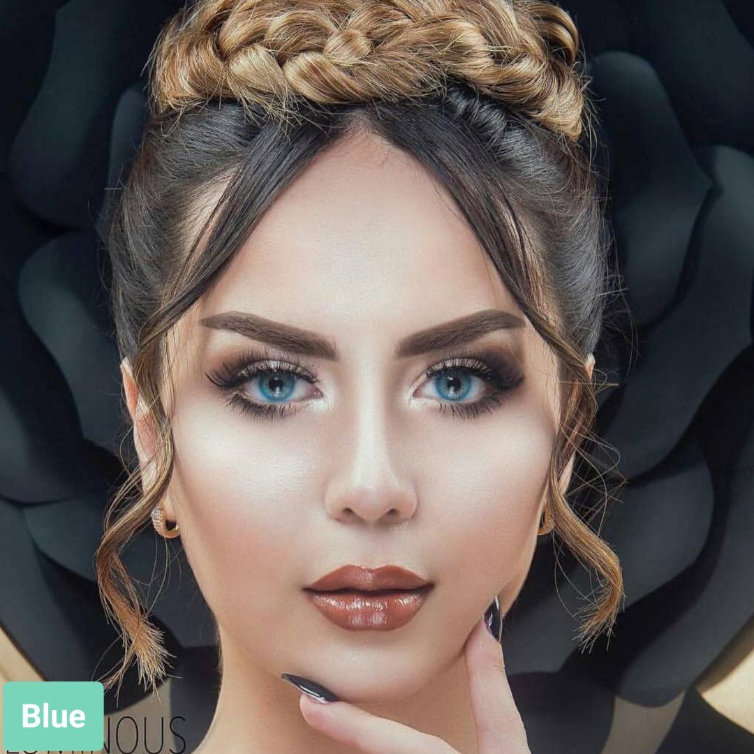 فروش لنز Blue (آبی فانتزی بدون دور)  برند لومینوس بهمراه قیمت امروز لنز رنگی  و قیمت امروز لنز طبی