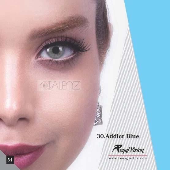 فروش لنز Addict Blue (آبی طوسی بدون دور)  برند رویال ویژن بهمراه قیمت امروز لنز رنگی  و قیمت امروز لنز طبی