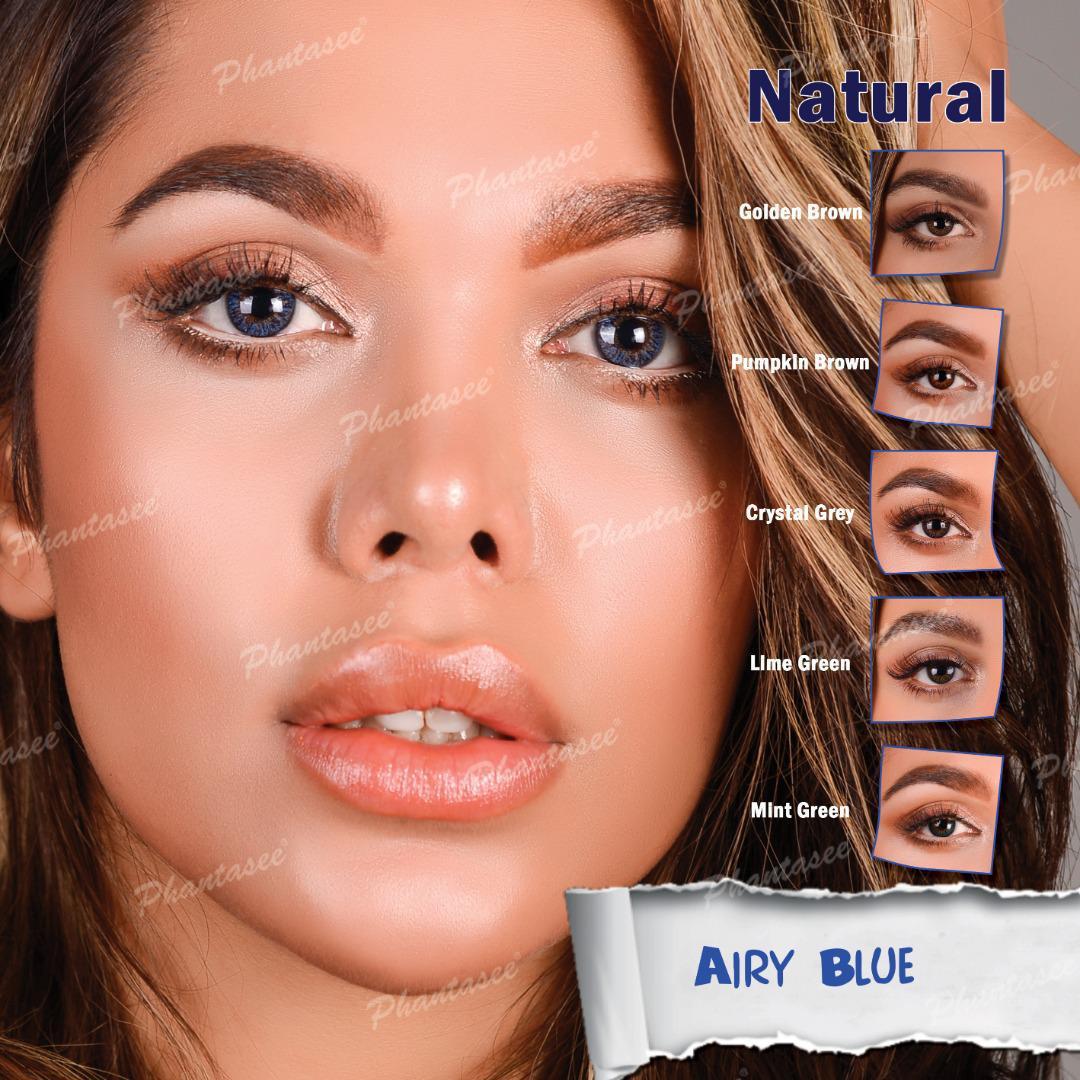 فروش لنز Airy Blue (آبی عسلی)  برند فانتاسی بهمراه قیمت امروز لنز رنگی و قیمت امروز لنز طبی