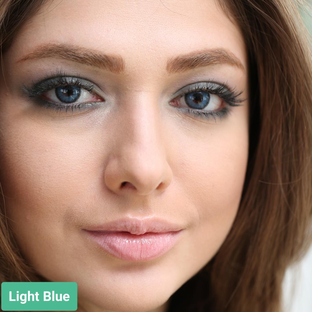 فروش لنز Light Blue (آبی دوردار)  برند سولکو رنگی  بهمراه قیمت امروز لنز رنگی و قیمت امروز لنز طبی