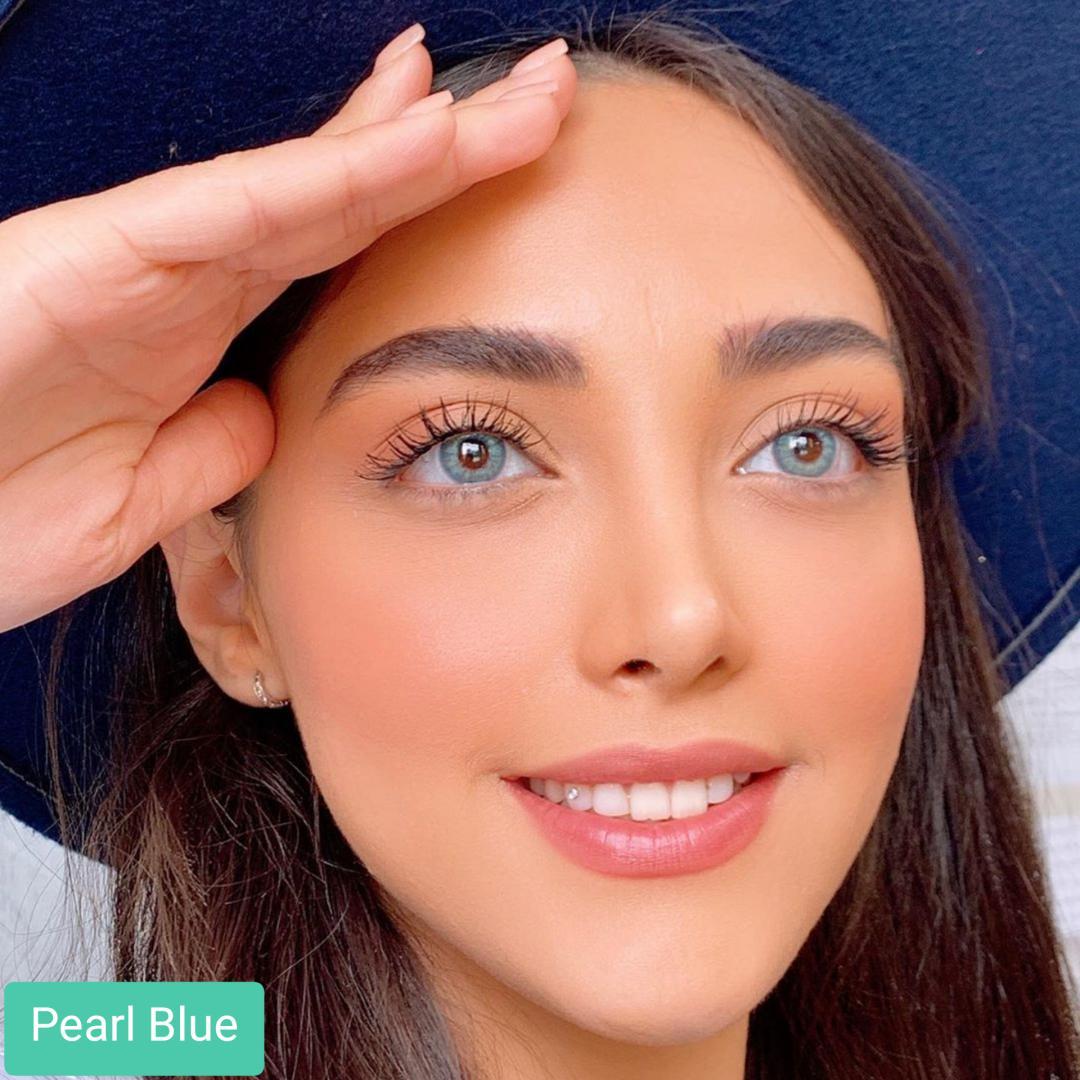 فروش لنز Pearl Blue (آبی طوسی بدون دور) برند کریستال  بهمراه قیمت امروز لنز رنگی و قیمت امروز لنز طبی