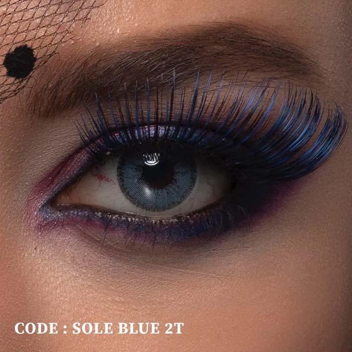 فروش لنز Sole Blue T2 (آبی دوردار)  بهمراه قیمت امروز لنز طبی و قیمت امروز لنز رنگی