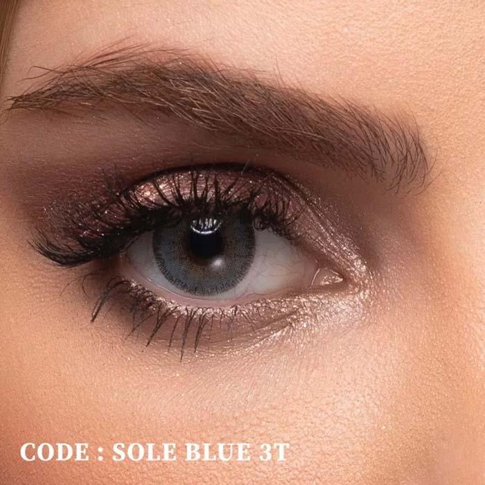 فروش لنز Sole Blue T3 (آبی عسلی)  بهمراه قیمت امروز لنز طبی و قیمت امروز لنز رنگی