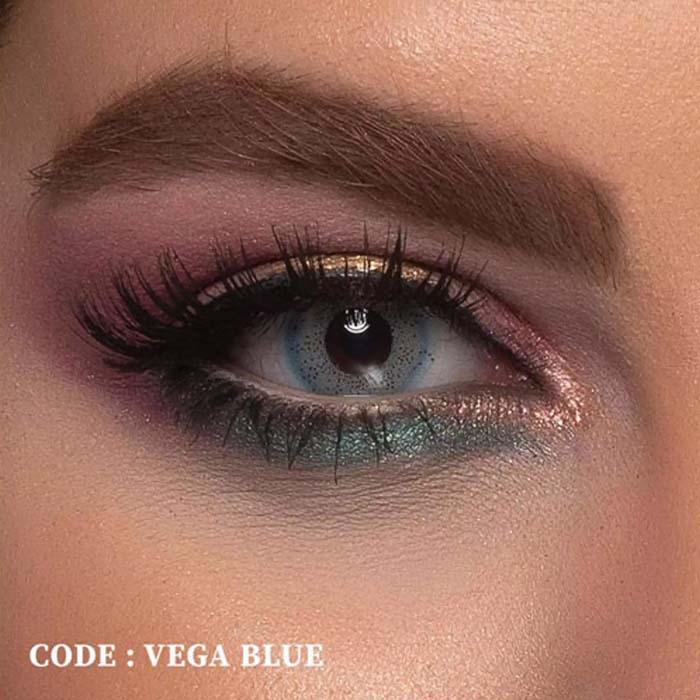 فروش لنز Vega Blue (آبی عروسکی)  بهمراه قیمت امروز لنز طبی و قیمت امروز لنز رنگی