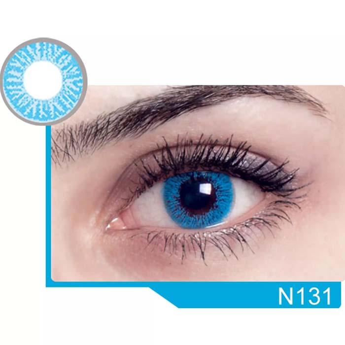 فروش لنز N 131 (آبی بدون دور)  بهمراه قیمت امروز لنز رنگی  و قیمت امروز لنز طبی