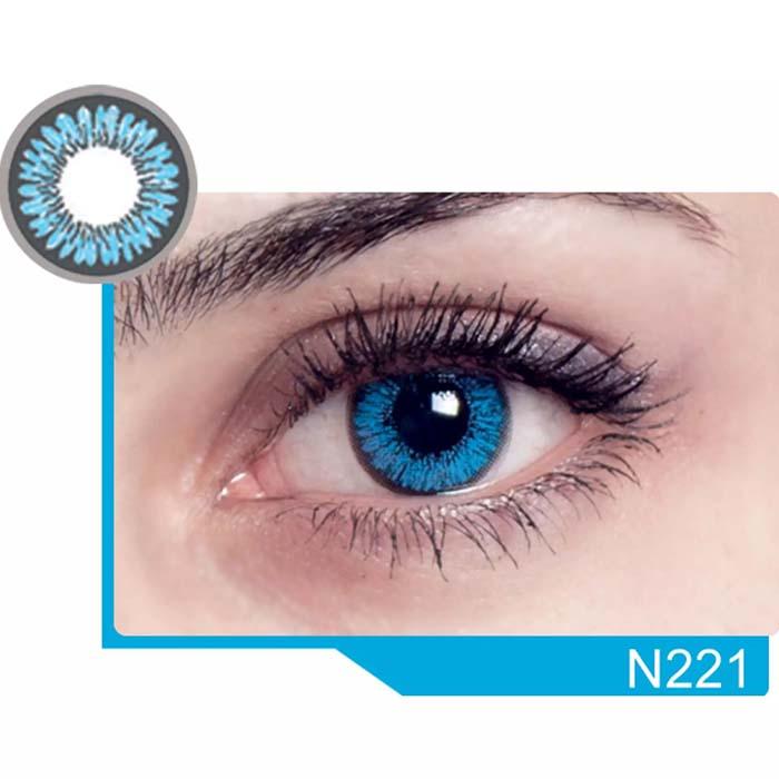فروش لنز N 221 (آبی دوردار)  بهمراه قیمت امروز لنز رنگی  و قیمت امروز لنز طبی