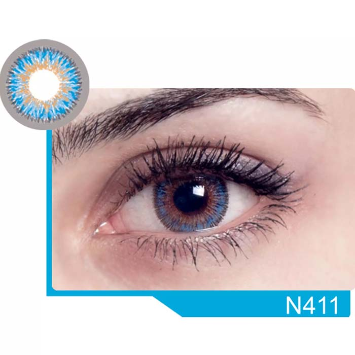 فروش لنز N 411 (آبی عسلی)  بهمراه قیمت امروز لنز رنگی  و قیمت امروز لنز طبی
