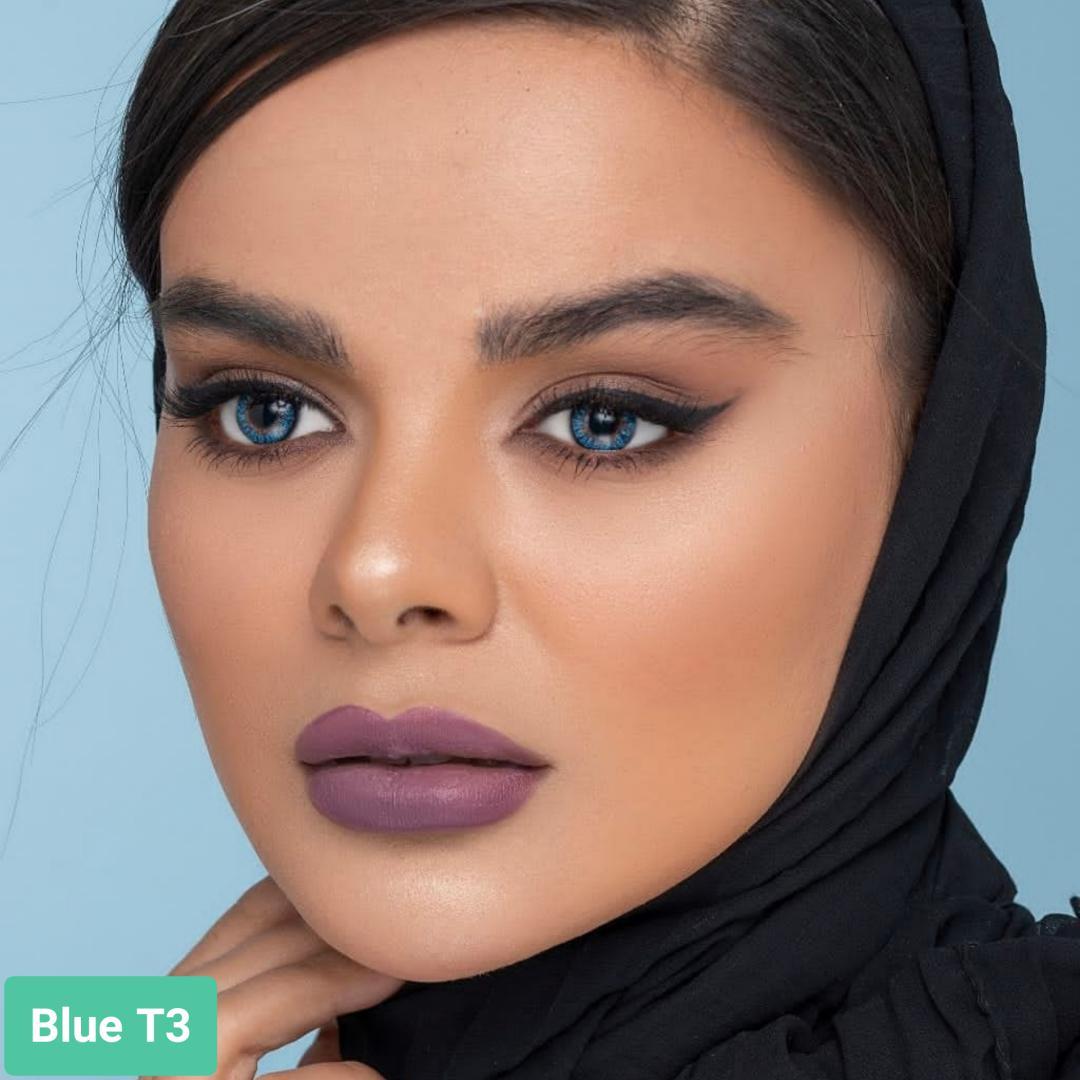 فروش لنز Blue T3 (آبی عسلی)  بهمراه قیمت امروز لنز طبی و قیمت امروز لنز رنگی