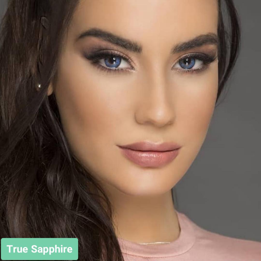 فروش لنز True Sapphire (آبی یاقوتی)  برند فرشلوک بهمراه قیمت امروز لنز رنگی و قیمت امروز لنز طبی