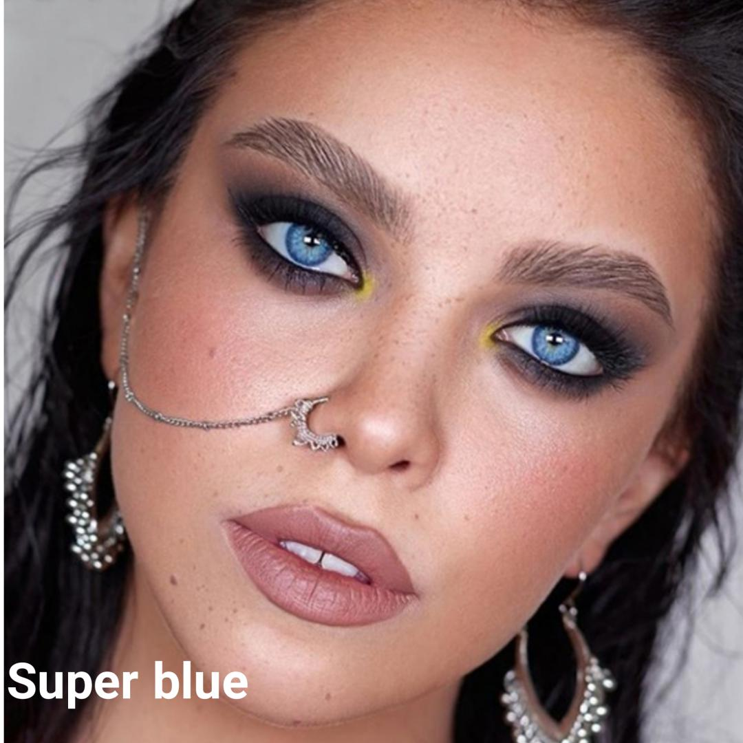 Super Blue (آبی دوردار) برند ایلوژن بهمراه قیمت امروز لنز رنگی و قیمت امروز لنز طبی