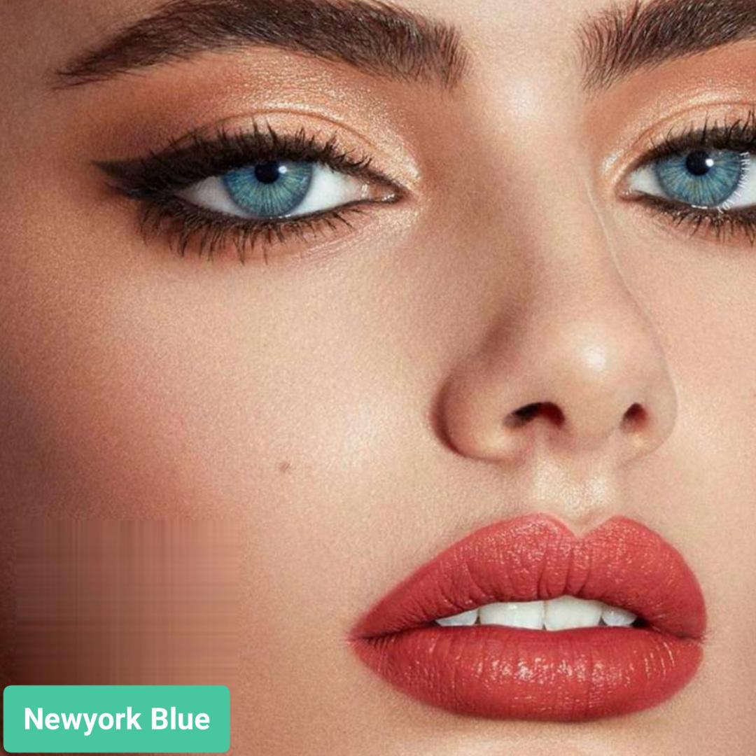 فروش لنزNewyork Blue (آبی روشن با دورخط) برند اوربان لایر بهمراه قیمت امروز لنز رنگی و قیمت امروز لنز طبی