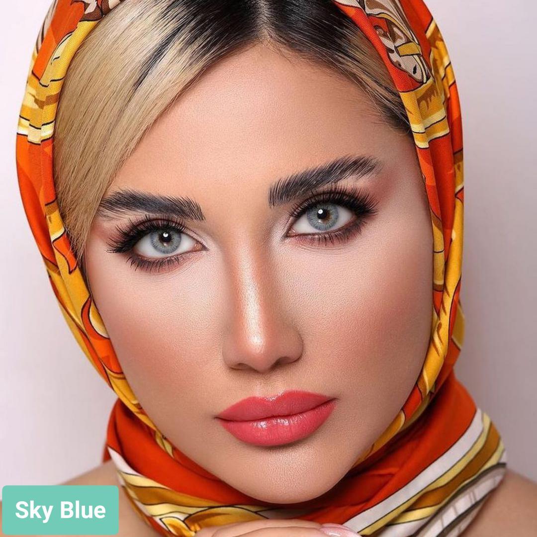 Sky Blue (آبی)برند لولیتا به همراه قیمت امروز لنز رنگی و قیمت امروز لنز طبی