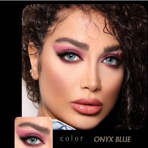 Onyx Blue(آبی دوردار) برند آیسکالر به همراه قیمت امروز لنز طبی و قیمت امروز لنز رنگی
