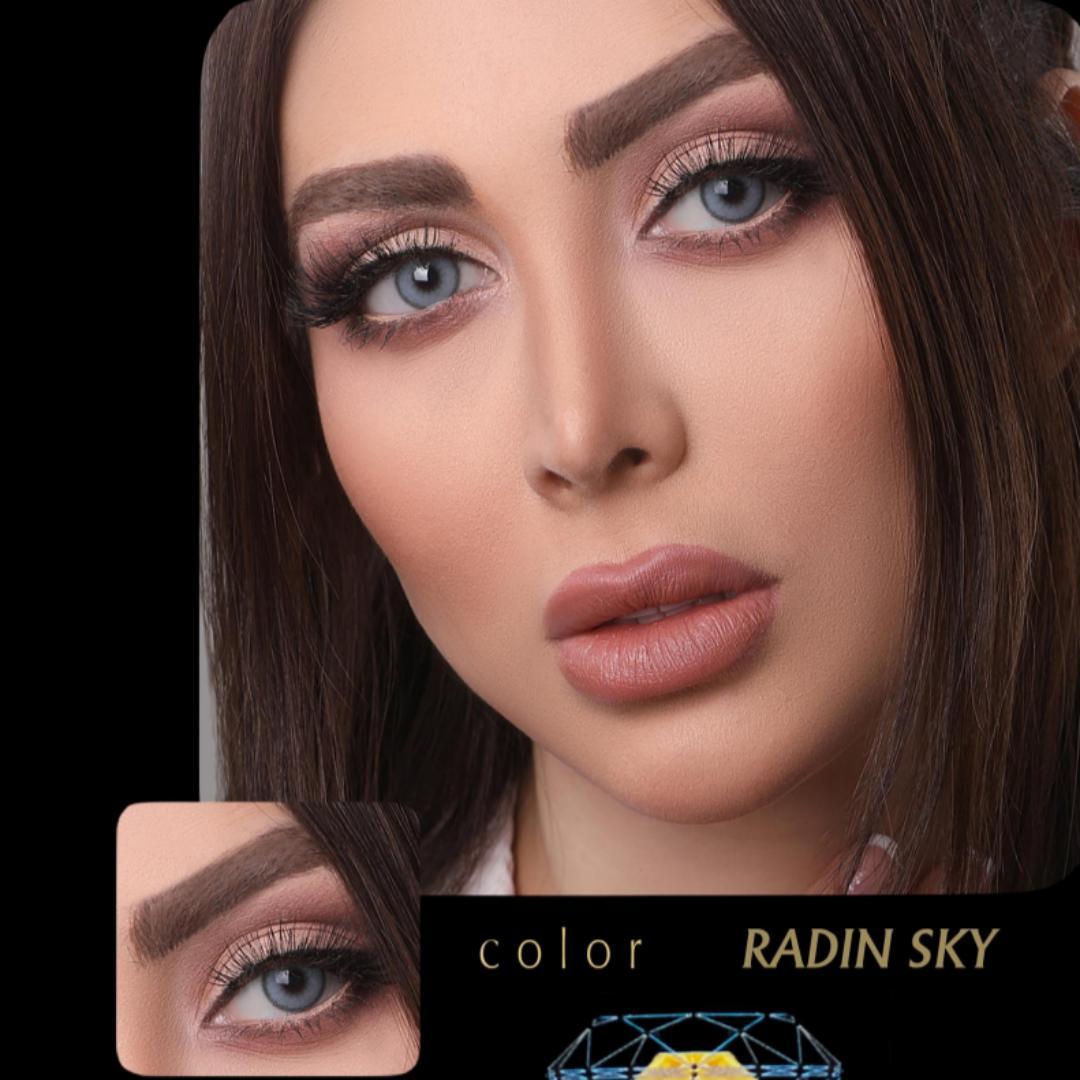Radin Sky(آبی دوردار) برند آیسکالر به همراه قیمت امروز لنز طبی و قیمت امروز لنز رنگی
