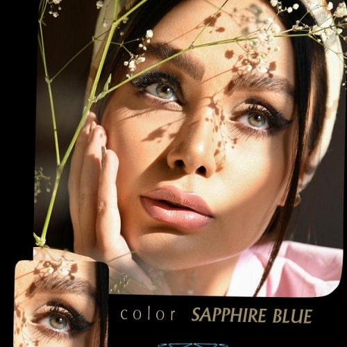 Sapphire Blue(میکس آبی عسلی بدون دور) برند آیسکالر به همراه قیمت امروز لنز طبی و قیمت امروز لنز رنگی