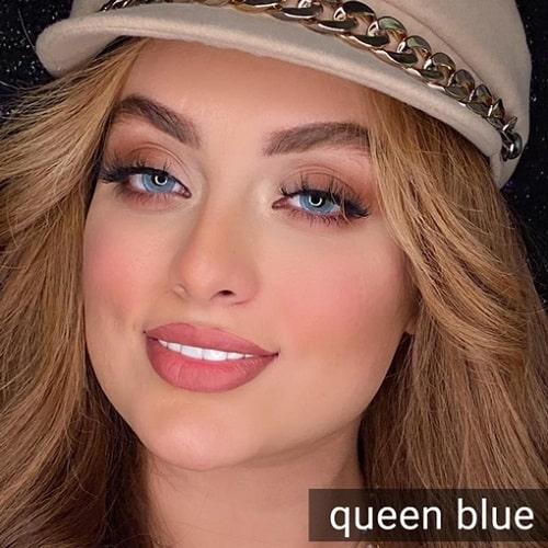 فروشQueen Blue (آبی دوردار)برند دیاموند بهمراه قیمت امروز لنز رنگی و قیمت امروز لنز طبی