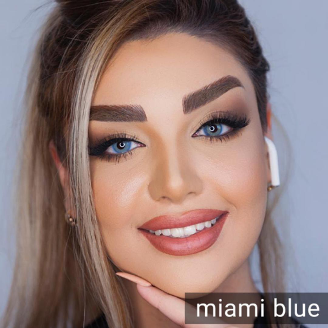 فروش Miami Blue  (آبی عسلی بدون دور) برند دیاموند بهمراه قیمت امروز لنز رنگی و قیمت امروز لنز طبی