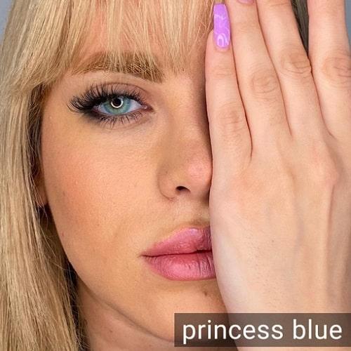 فروش لنز Princces Blue ( آبی عسلی بدون دور)  برنددیاموند بهمراه قیمت امروز لنز رنگی و قیمت امروز لنز طبی
