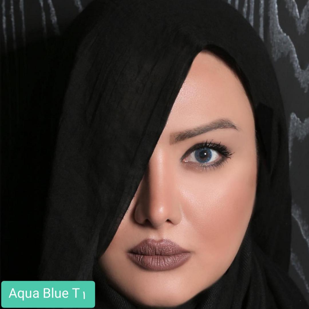 فروش لنز Aqua Blue T1(آبی بدون دور) برند الگانس بهمراه قیمت امروز لنز رنگی و قیمت امروز لنز طبی