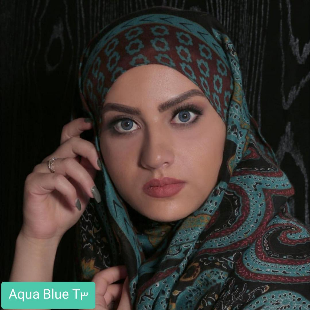 فروش لنز Aqua Blue T3(آبی عسلی) برند الگانس بهمراه قیمت امروز لنز رنگی و قیمت امروز لنز طبی