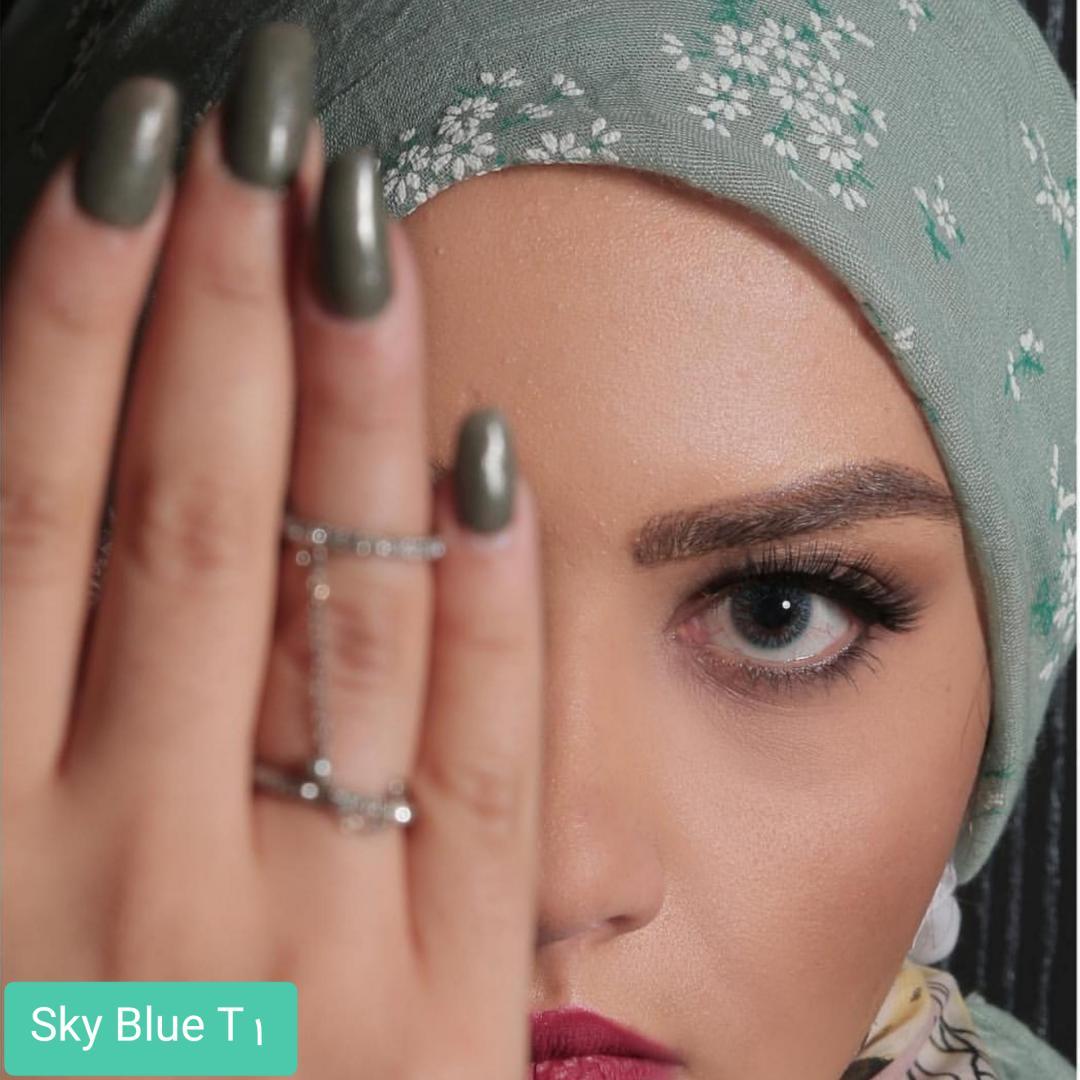 فروش لنز Sky Blue T1(آبی بدون دور)  برند الگانس بهمراه قیمت امروز لنز رنگی و قیمت امروز لنز طبی