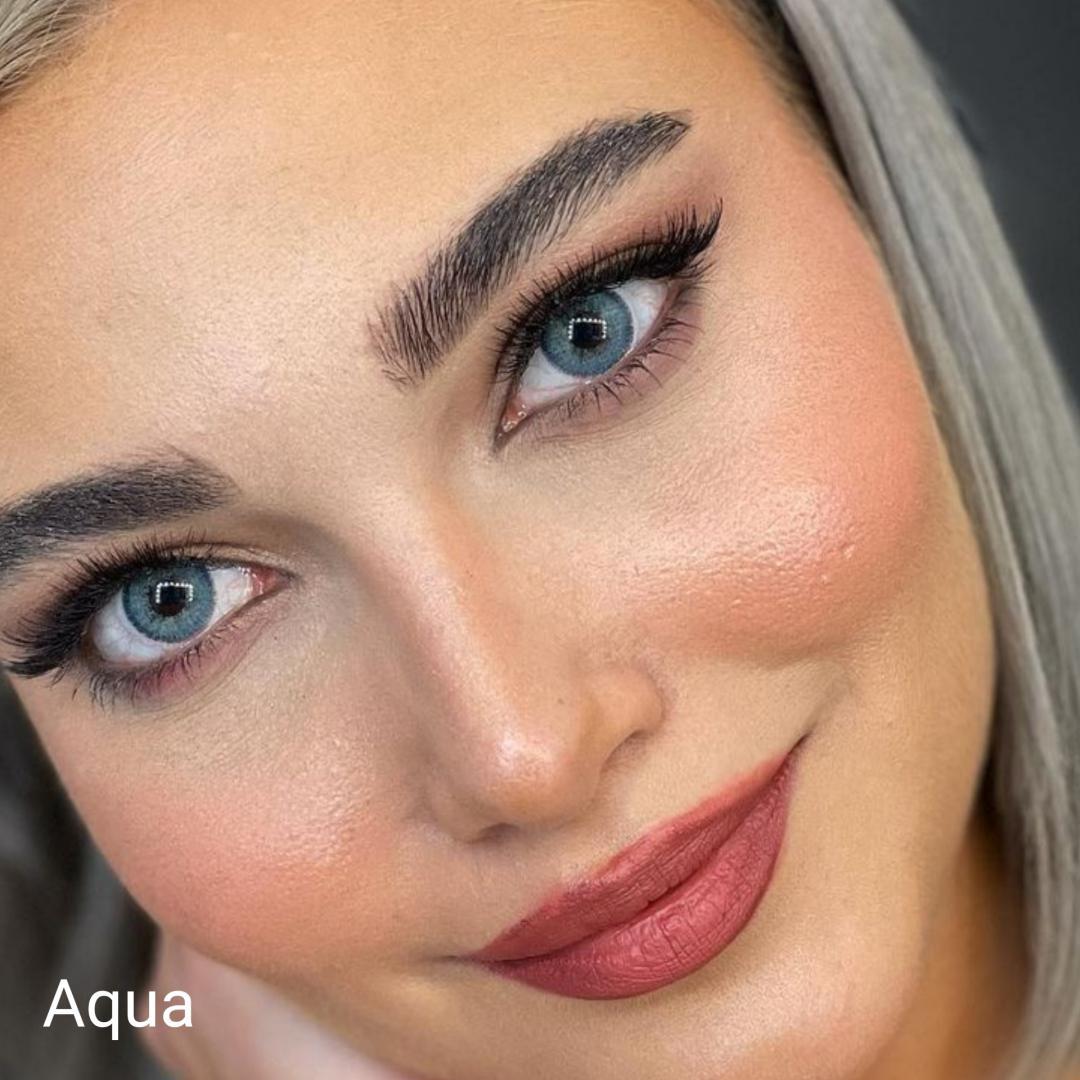 فروش لنزAqua (آبی دوردار)  برند شیخ بهمراه قیمت امروز لنز رنگی  و قیمت امروز لنز طبی