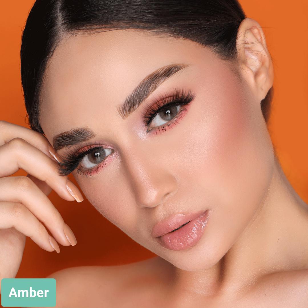 فروش لنز Amber (سبز عسلی خاکی بدون دور)  برند هیپنوس بهمراه قیمت امروز لنز رنگی  و قیمت امروز لنز طبی