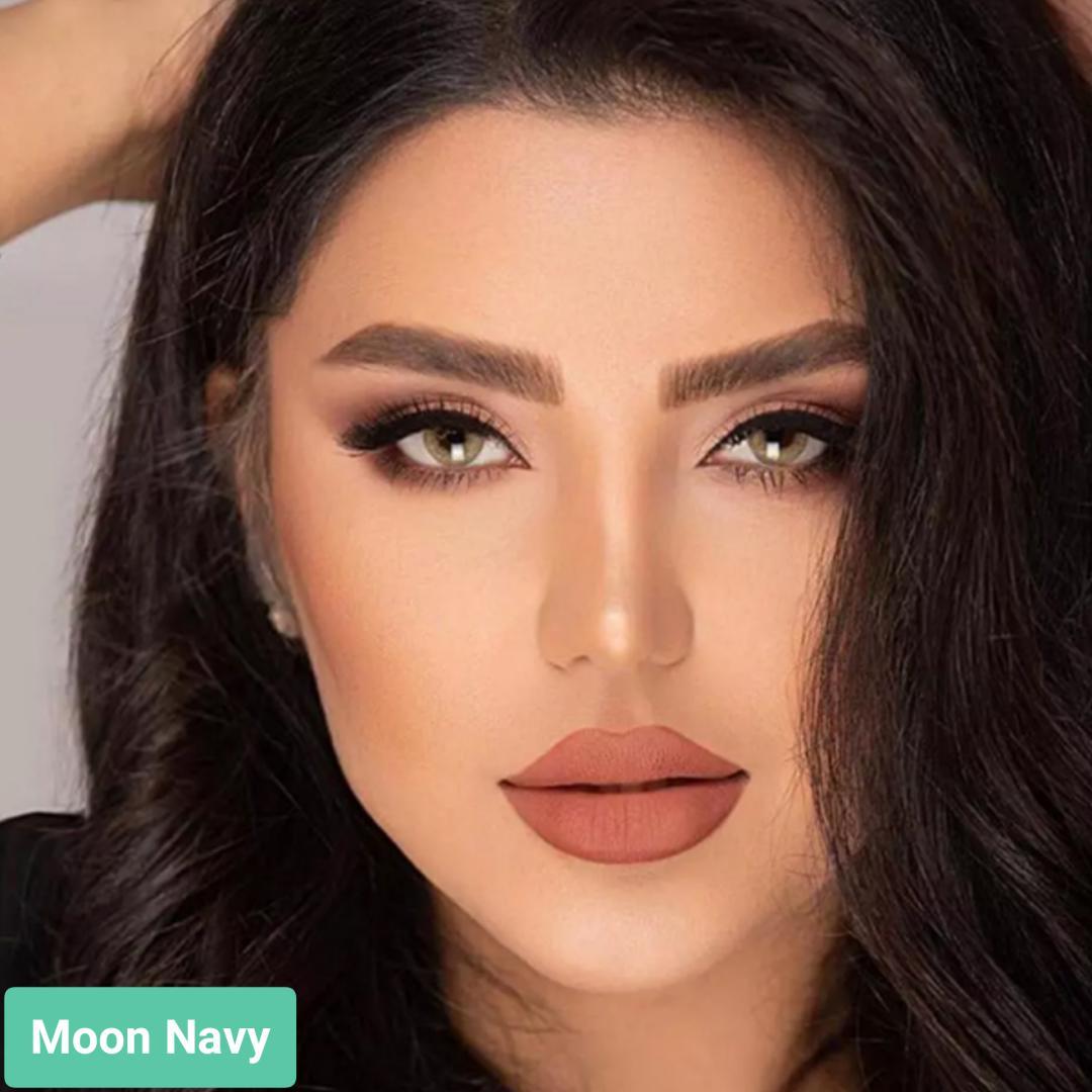 فروش لنز Moon Navy (عسلی زیتونی بدون دور)  برند ترسا لاکچری بهمراه قیمت امروز لنز رنگی  و قیمت امروز لنز طبی
