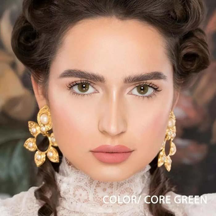 فروش لنز Core Green (سبز عسلی بدون دور)  برند نچرال بهمراه قیمت امروز لنز رنگی  و قیمت امروز لنز طبی