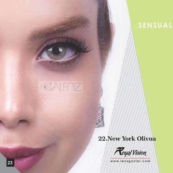 فروش لنز New York Olivia (سبز عسلی بدون دور)  برند رویال ویژن بهمراه قیمت امروز لنز رنگی و قیمت امروز لنز طبی