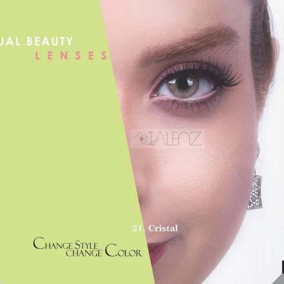 فروش لنز Cristal (سبز عسلی بدون دور)  برند رویال ویژن بهمراه قیمت امروز لنز رنگی و قیمت امروز لنز طبی