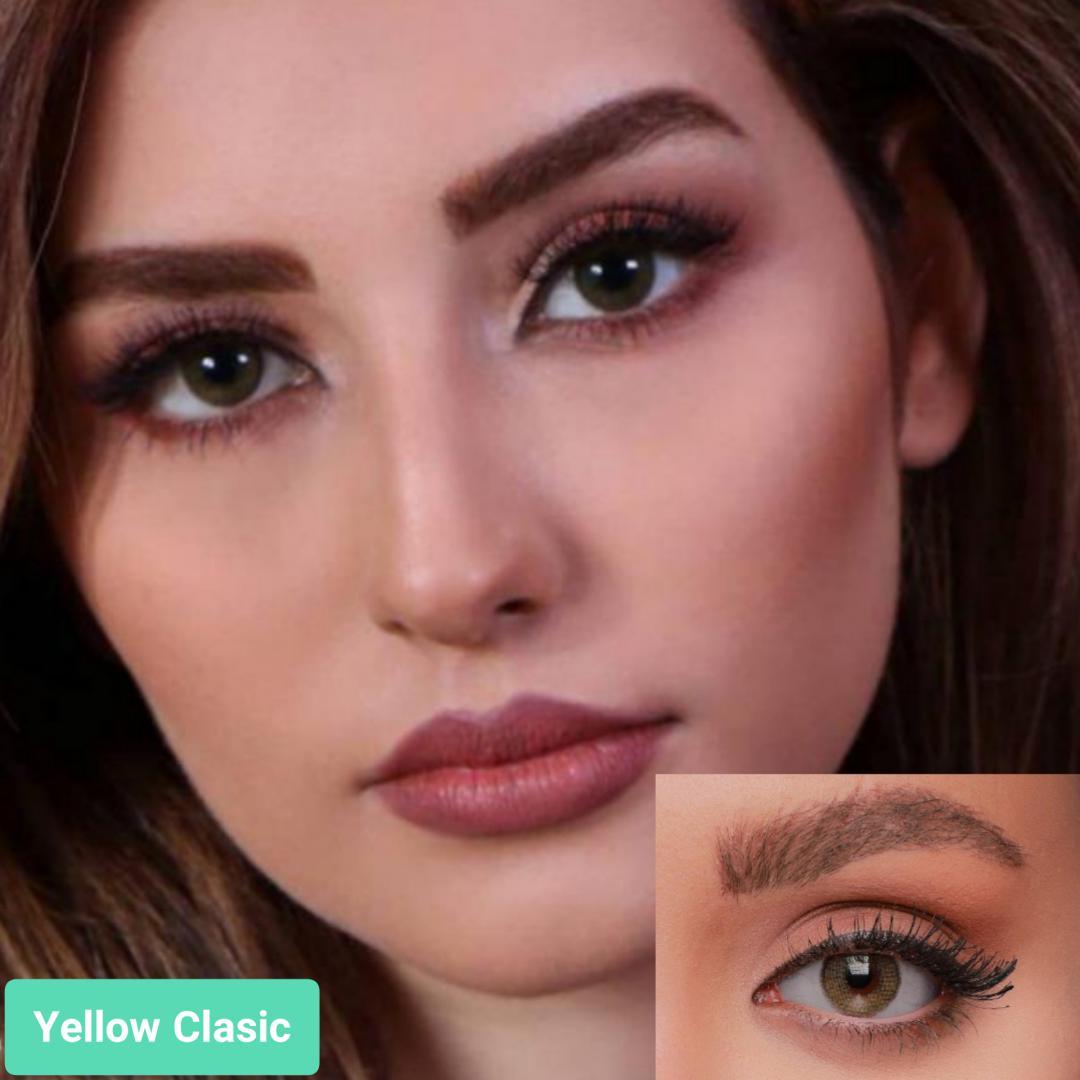 فروش لنز Yellow Classic (زیتونی تیره دوردار) برند جمستون لاکچری  بهمراه قیمت امروز لنز رنگی و قیمت امروز لنز طبی