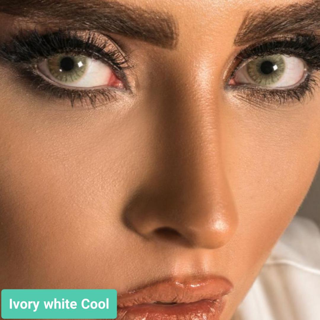 فروش لنز Ivory White Cool (طوسی روشن ته مایه سبز بدون دور)  برند جمستون لاکچری  بهمراه قیمت امروز لنز رنگی و قیمت امروز لنز طبی