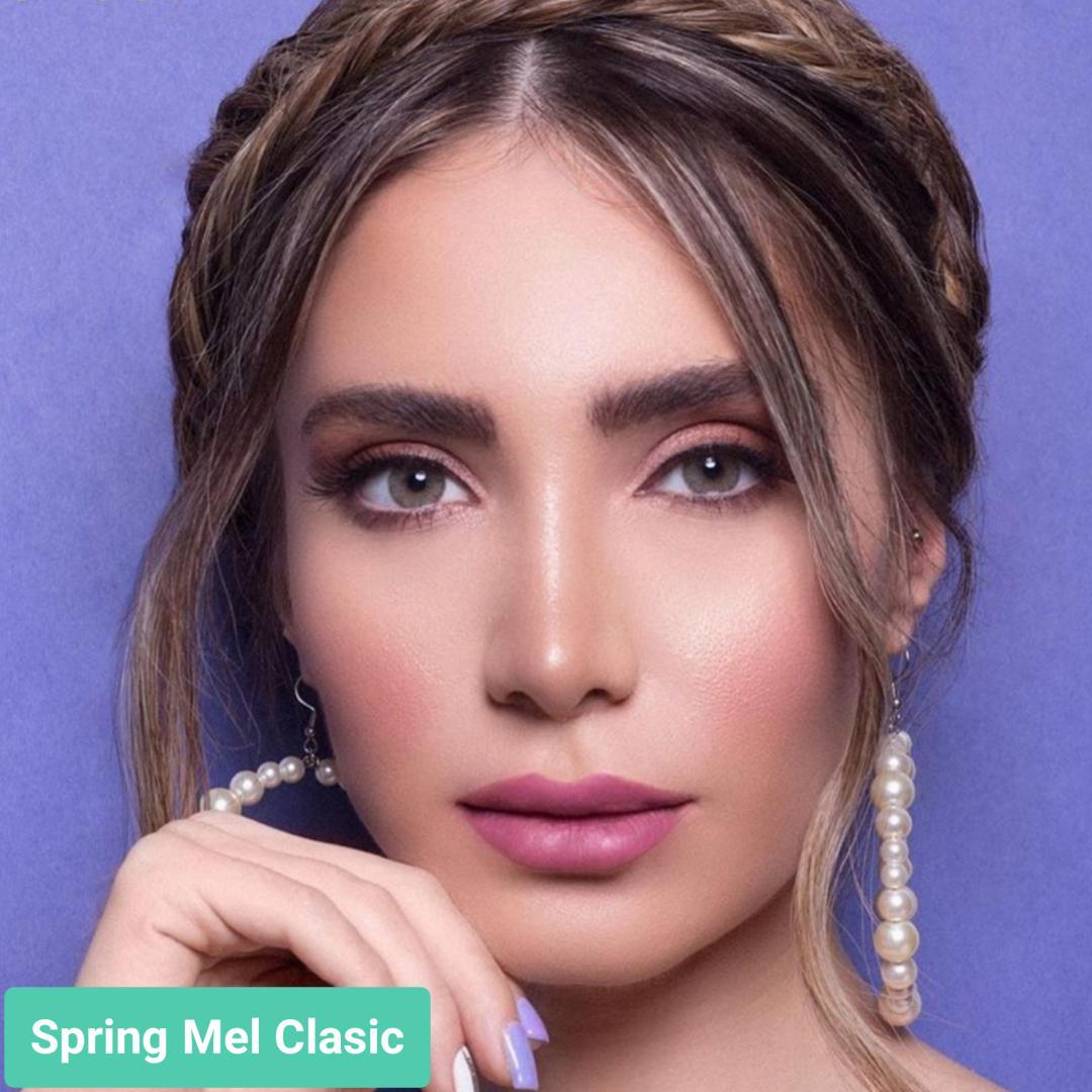 فروش لنز Spring Mel Classic (سبز ته مایه عسلی دورمحو)  برند جمستون لاکچری  بهمراه قیمت امروز لنز رنگی و قیمت امروز لنز طبی