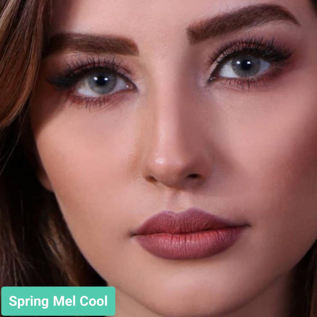 فروش لنز Spring Mel Cool (سبز ته مایه عسلی بدون دور)  برند جمستون لاکچری  بهمراه قیمت امروز لنز رنگی و قیمت امروز لنز طبی